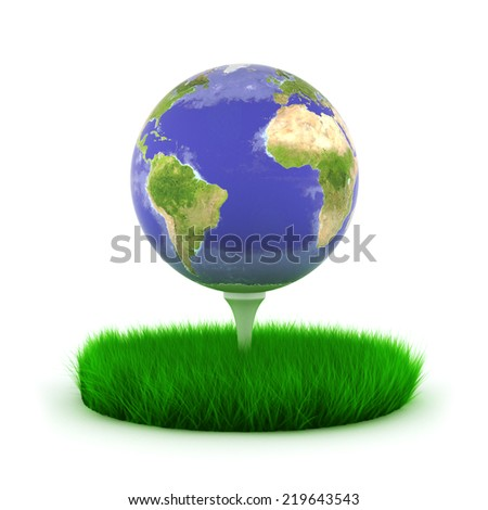 Globe earth on golf tee with grass.Elements of this image are furnished by NASA - stock photo