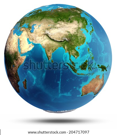 Globe Earth real relief and water. Elements of this image furnished by NASA - stock photo