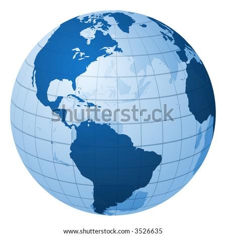 Globe focused on America - stock photo