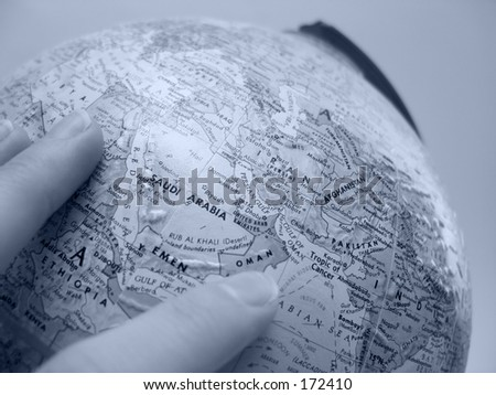 Globe focused on Middle East - stock photo