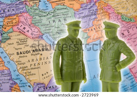 globe focused on the Middle East and Toy generals - Fight Terrorism Concept - stock photo