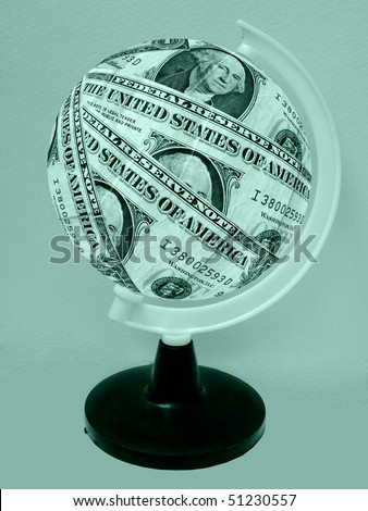 Globe formed of American dollar - stock photo