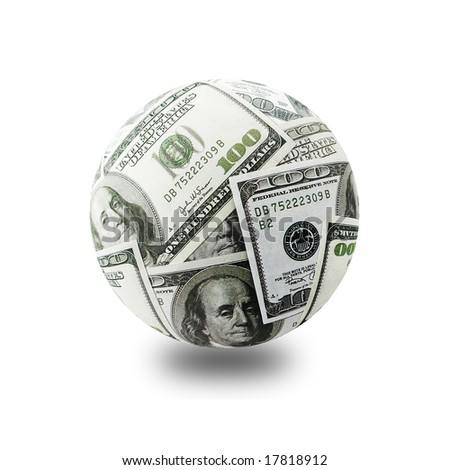 Globe formed of American one hundred dollar bills over white background - stock photo