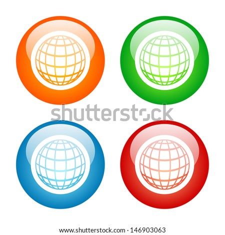 Globe Icon Colorful Glass Icon Set. Raster version, vector also available. - stock photo
