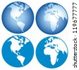 globe icon (globes showing earth with all continents, world globe) - stock photo