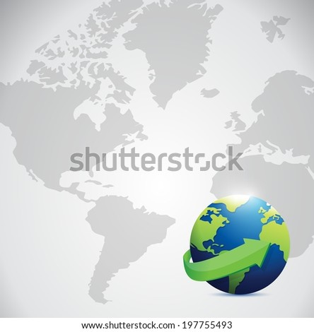 globe illustration design over a world map background - stock photo