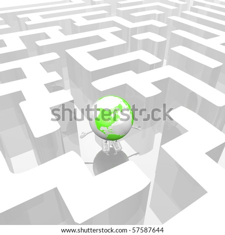 Globe in a Maze - stock photo