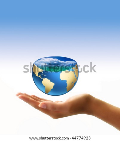 globe in hand - stock photo