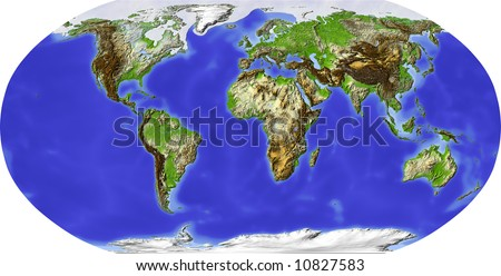 Globe in Robinson projection, centered on Africa. Shaded relief colored according to terrain height. Shows polar and pack ice, large urban areas. Isolated on white, with clipping path. - stock photo