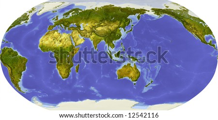 Globe in Robinson projection, centered on Asia. Shaded relief colored according to dominant vegetation. Shows polar and pack ice, large urban areas. Isolated on white, with clipping path. - stock photo