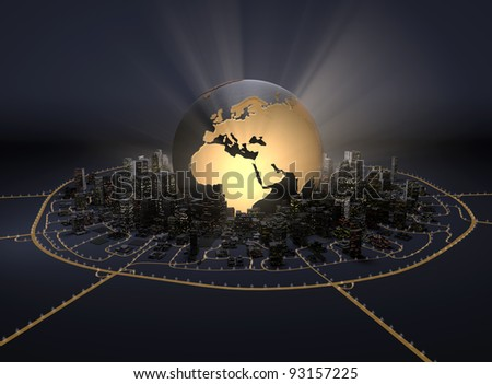 Globe in the middle of downtown - stock photo
