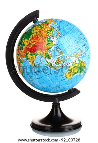 Globe in  Ukrainian language isolated on white - stock photo