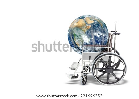 Globe in wheelchair representing the concept of protect and save environment Elements of this image furnished by NASA isolated on white background with clipping path - stock photo