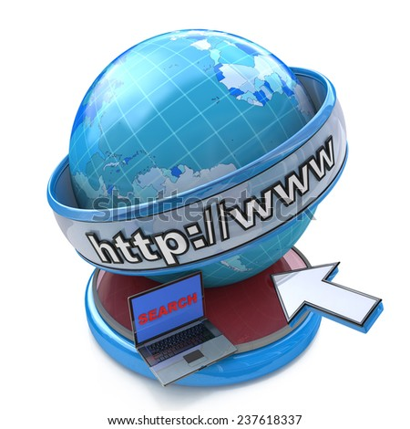 Globe internet searching concept, web page or internet browser. http://www. written in search bar  - stock photo