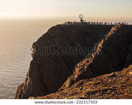 Globe monument at Nordkapp, the northernmost point of Europe, Norway. - stock photo