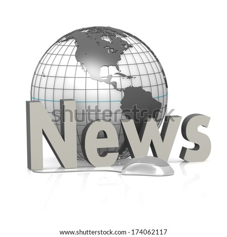 Globe, mouse and news - stock photo