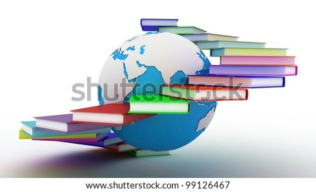 Globe of books. Isolated on white. 3D images. - stock photo