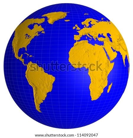 Globe of Earth isolated on white background - stock photo