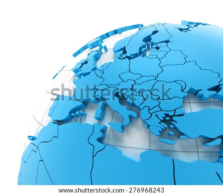 Globe of Europe with national borders, 3d render - stock photo