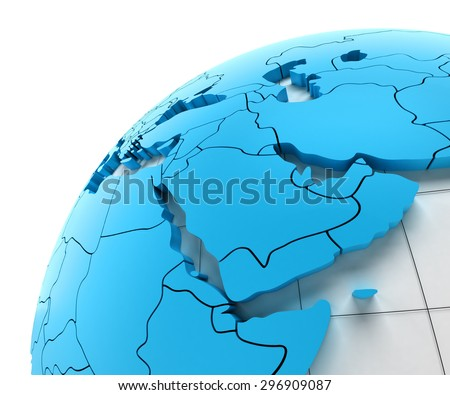 Globe of Middle east with national borders, 3d render - stock photo