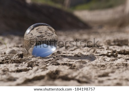 Globe on a deserts - stock photo