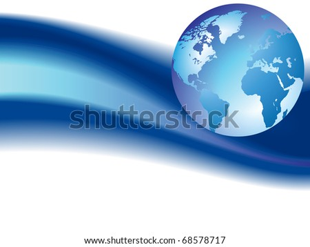 Globe on blue wave background. Raster version. Vector version is also available. - stock photo