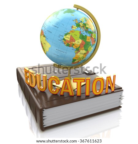 Globe on book isolated over white background in the design of information related to education - stock photo