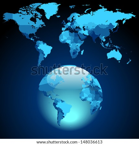 Globe on dark blue World map. Raster version. Vector version is also available. - stock photo