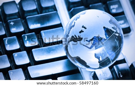 globe on keyboard - stock photo