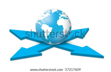 Globe on the Crossroad - stock photo