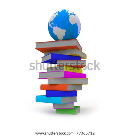 Globe  on top of stack of books - stock photo