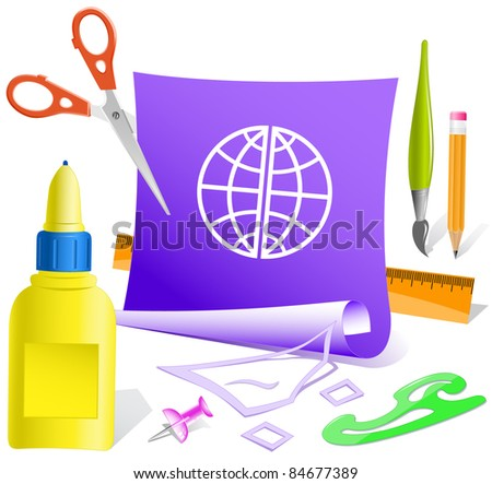 Globe. Paper template. Raster illustration. - stock photo
