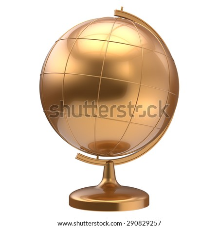 Globe planet Earth golden blank global geography school studying world cartography education symbol icon gold yellow. 3d render isolated on white background - stock photo