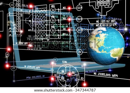 globe planet earth,notebook,industrial engineering scheme on black background.Engineering industrial electrical designing technology - stock photo