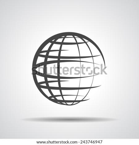 globe planet icon on a grey background - stock photo