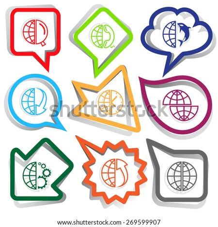Globe set. Paper stickers. Raster illustration. - stock photo