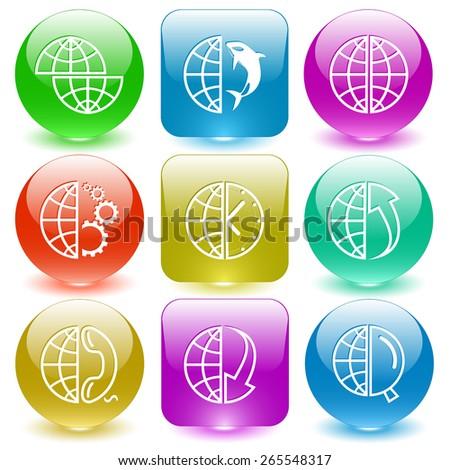 Globe set. Raster set glass buttons. - stock photo