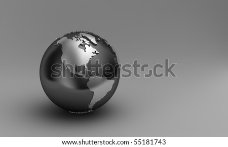 Globe showing North and South America over gradient background - stock photo
