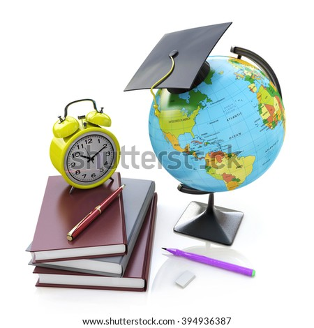 Globe, stack of school books with alarm clock and ball pens. Schoolchild and student studies accessories. Back to school concept in the design of information related to education - stock photo