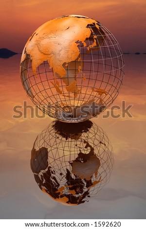 Globe under the sky. - stock photo