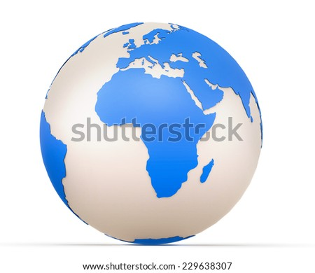 Globe with Africa and Europe in the foreground. 3d model of Earth Planet isolated on white - stock photo