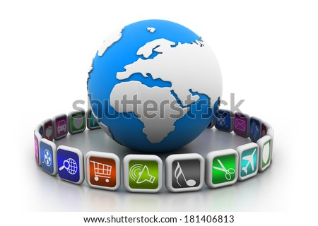 globe with app symbols - stock photo