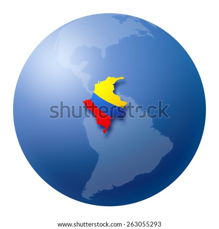 Globe with Colombia's map and flag over american continent - stock photo