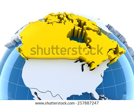 Globe with extruded continents, close-up on Canada, 3d render - stock photo