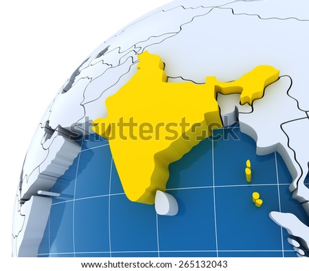 Globe with extruded continents, close-up on India, 3d render - stock photo