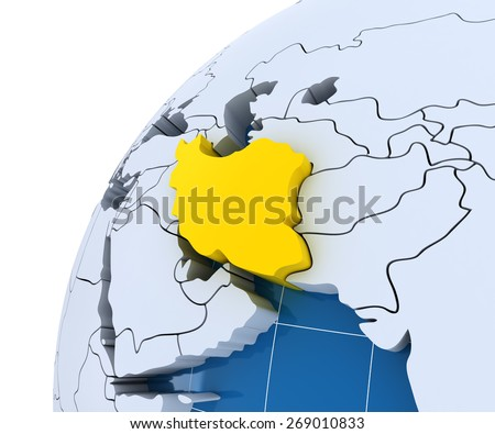 Globe with extruded continents, close-up on Iran, 3d render - stock photo