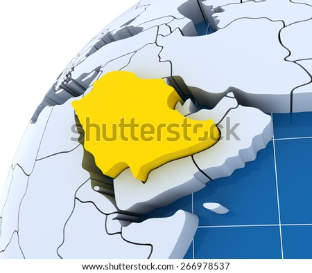 Globe with extruded continents, close-up on Saudi Arabia, 3d render - stock photo