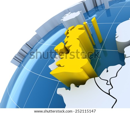 Globe with extruded continents, close-up on UK, 3d render - stock photo