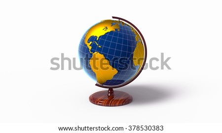 Globe with golden continents, isolated - stock photo