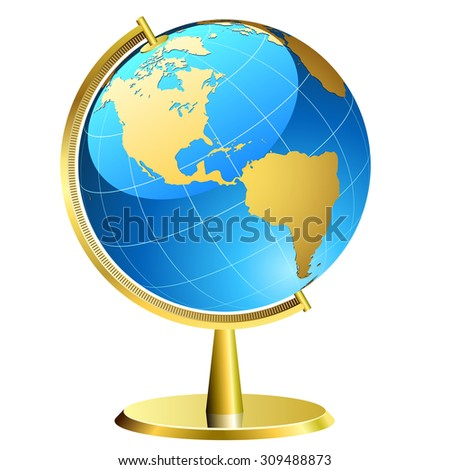 Globe with golden support  isolated on white background. - stock photo